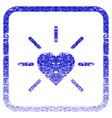 shiny love heart framed textured icon vector image