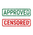 green and red vintage approved and censored stamp vector image