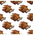 Seamless pattern of wild boars with tusks vector image