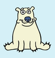 cartoon lonely polar bear sitting and looking vector image