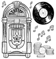 Doodle jukebox music vector image
