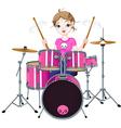 Drummer girl vector image