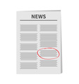 Newspaper icon Red pen skrible mark Flat design vector image