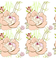 seamless wallpaper with pink flowers vector image
