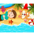 Boy and dog relaxing on the beach vector image