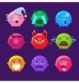 Spherical Characters Of Different Colors Emoji Set vector image