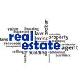 word cloud real estate vector image