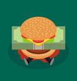 Businessman under hamburger crisis vector image