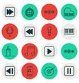 set of 16 music icons includes mike last song vector image