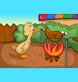 sad duck looking at a fire vector image