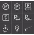 black parking icons set vector image