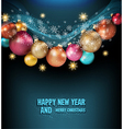 dark blue background with a magic Christmas balls vector image