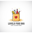 Lovely Food Paper Bag with Heart Symbol Bread vector image