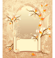 Autumn frame with a scroll on grunge background vector image