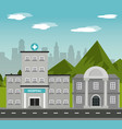 hospital bank building landscape mountains city vector image