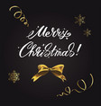 merry christmas lettering and christmas elements vector image