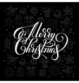 merry christmas lettering inscription handwritten vector image