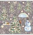 winter seamless pattern with bunnies spruce trees vector image