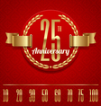Decorative anniversary golden emblem - vector image