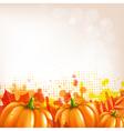 Orange Autumn Leafs And Pumkins Border vector image