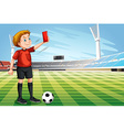 Referee showing red card in the football field vector image
