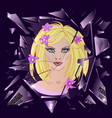 broken glass with reflection of cute girl vector image