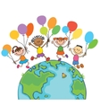 four happy jumping kids round the globe with vector image