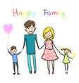 Happy family holding hands and smiling vector image