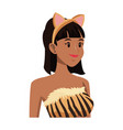tigress woman in costume with ears party halloween vector image