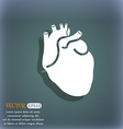 Human heart icon On the blue-green abstract vector image