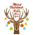 Merry Christmas and Happy New Year Reindeer with vector image