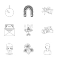 Event service set icons in outline style Big vector image