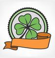 green lucky four leaf irish vector image