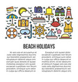 beach holidays information banner vector image