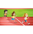 Three kids jogging vector image
