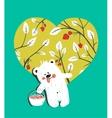 Cartoon Baby Bear with Raspberries Heart vector image