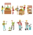 Farm Vegetables Market And People Farming Set vector image