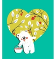 Cartoon Baby Bear with Raspberries Heart vector image