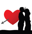 couple with heart silhouette vector image