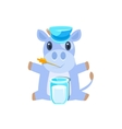 Cow In Hat Sitting With Glass Of Milk vector image