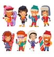Cute Cartoon Skiers Skaters and Snowboarders vector image