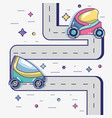 futuristic cars on the street with modern element vector image