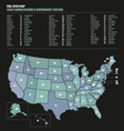 USA state zip codes map vector image