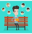 Man surfing in the social network vector image