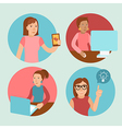 characters working at computers - in flat retro st vector image