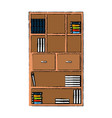 bookcase library books furniture drawers handle vector image