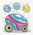 futuristic car with modern elements icons vector image
