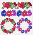 set of coloring flower brushes and frames vector image