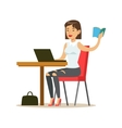 Woman Studying Copying From The Book To Lap Top vector image