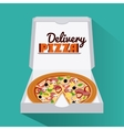 Pizza pie and carton box design vector image